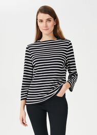 Alma Stripe Top, Navy Ivory, hi-res