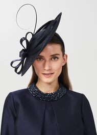 Arabella Fascinator, Navy, hi-res
