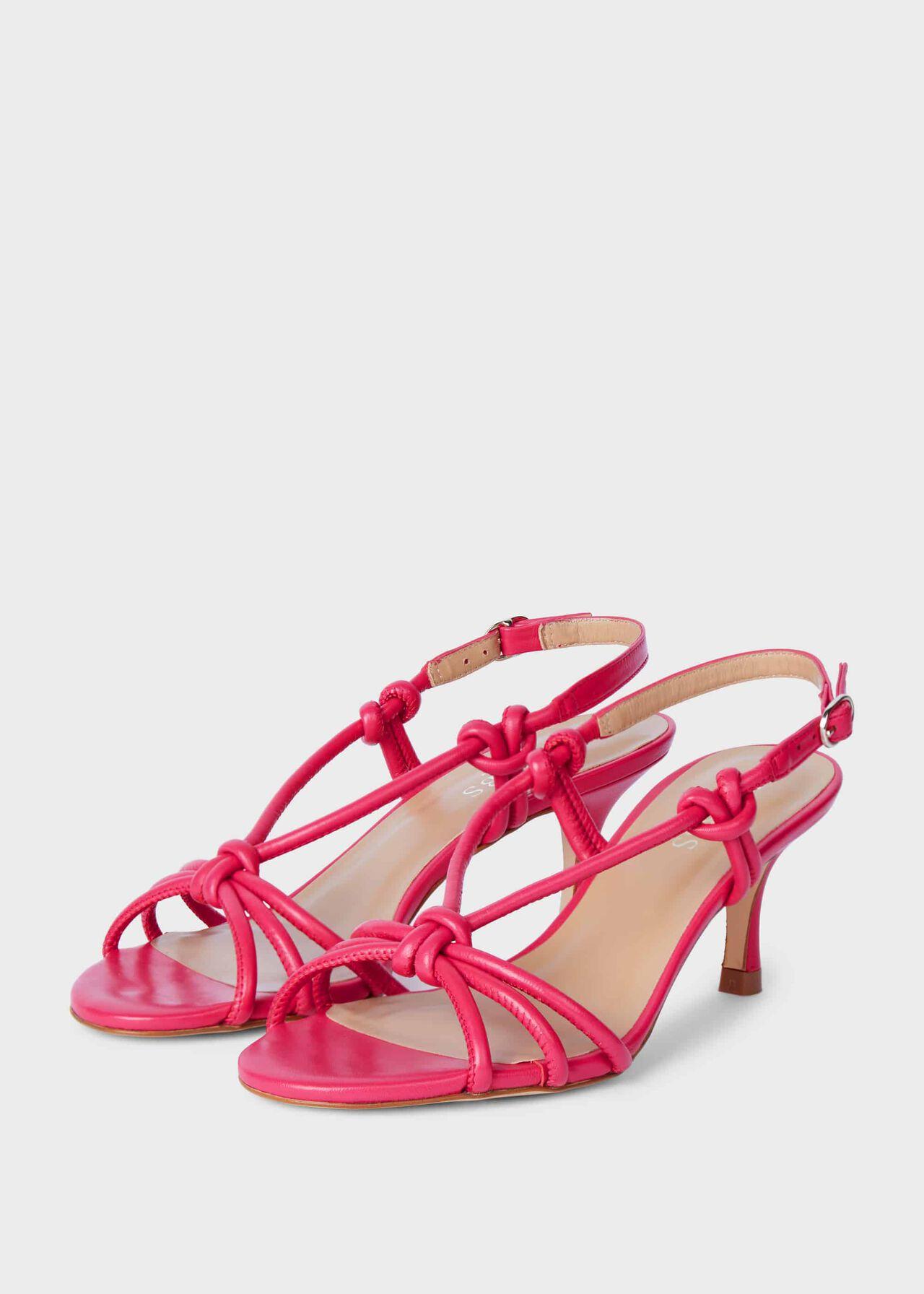 Billie Leather Kitten Heel Sandals Pink