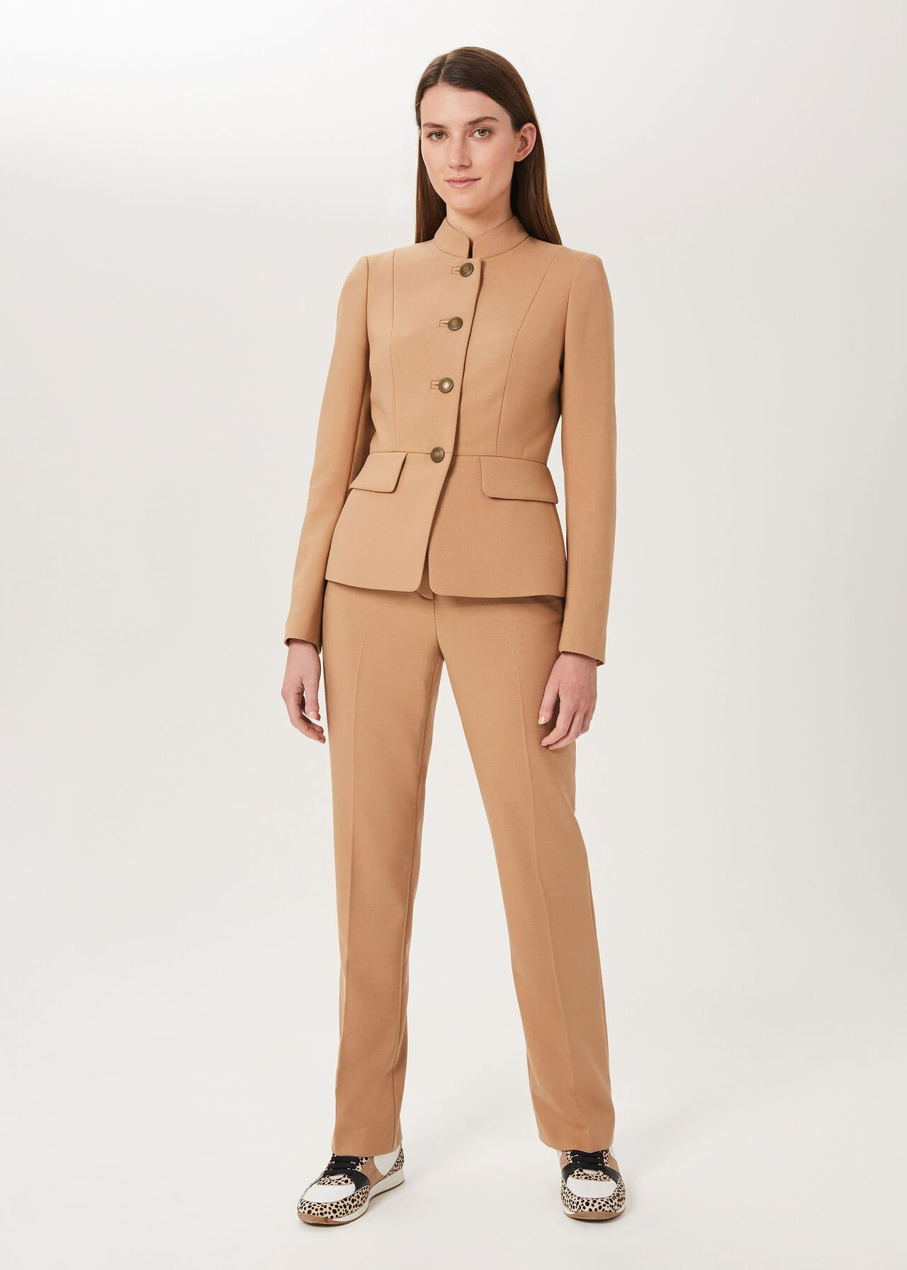 Angelica Wool Blend Military Jacket, Camel, hi-res