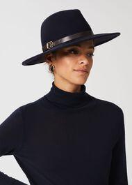 Anika Wool Fedora Hat, Navy, hi-res