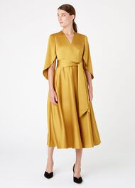 Rosa Midi Dress, Ochre, hi-res