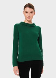 Audrey Wool Cashmere Jumper, Emerald Green, hi-res