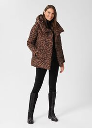 Short Heather Water Resistant Puffer Jacket, Camel Multi, hi-res