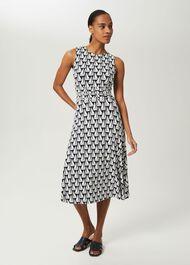 Bayview Jersey Sleeveless Midi Dress, Navy Ivory, hi-res