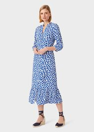 Magda Spot Shirt Dress, Cobalt White, hi-res