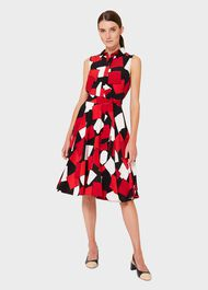 Belinda Geometric Fit And Flare Dress, Red Multi, hi-res