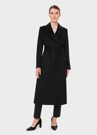 Petite Olivia Wool Wrap Coat, Black, hi-res