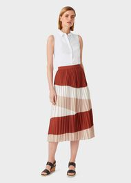Bess Stripe Midi Skirt, Ivory Rust, hi-res