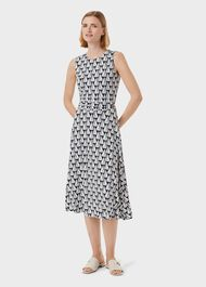 Bayview Jersey Sleeveless Midi Dress, Navy Ivory, hi-res