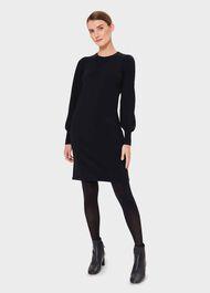 Afia Wool Blend Knitted Dress, Navy, hi-res