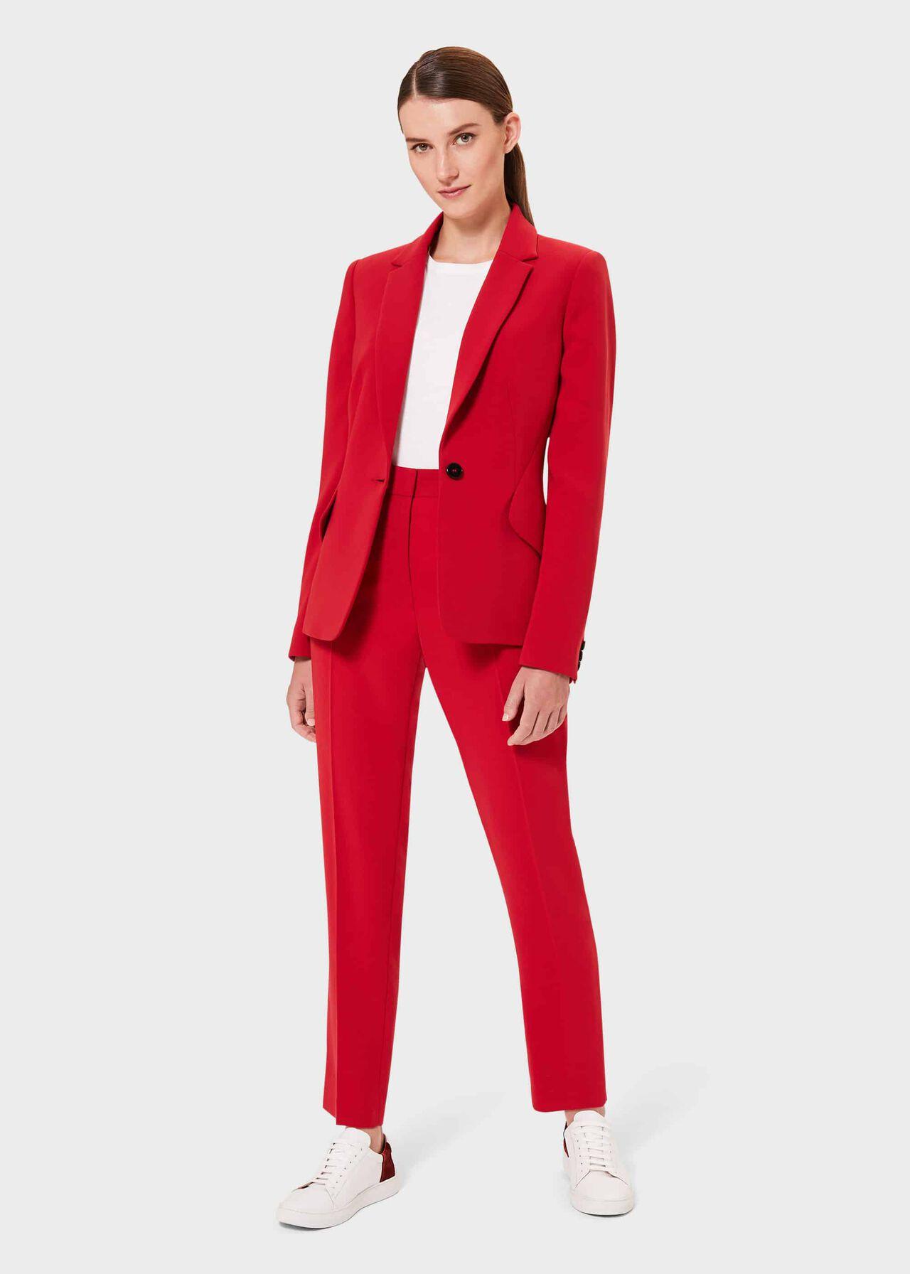 Zinnia Collar Jacket, Red, hi-res