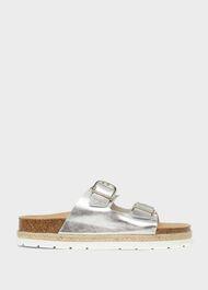 Ariel Leather Sandals, Silver, hi-res