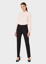 Petite Laurel Wool Blend Tapered trousers, Black, hi-res
