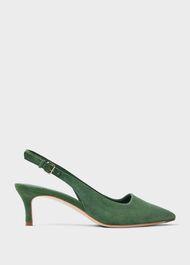 Kiera Suede Kitten Heel Slingbacks Court Shoes, Fern Green, hi-res