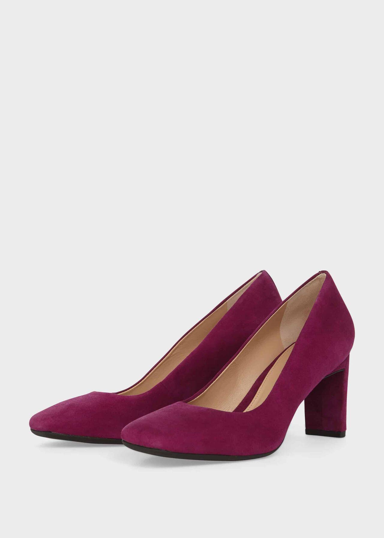 Ella Suede Block Heel Court Shoes Magenta