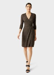 Delilah Jersey Wrap Dress, Navy Multi, hi-res