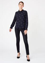 Clarice Blouse, Navy Black, hi-res