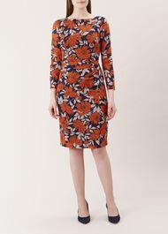 Sacha Silk Blend Dress, Navy Orange, hi-res