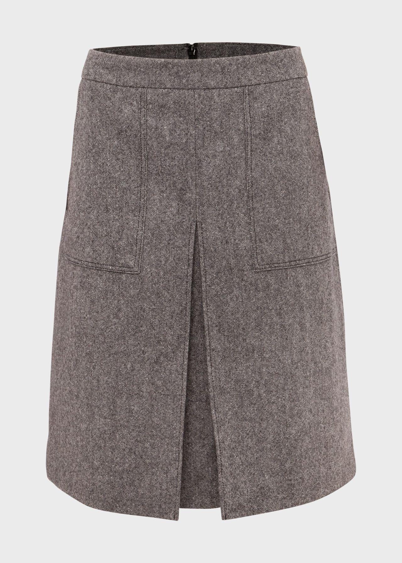 Callie Wool Blend A Line Skirt Grey