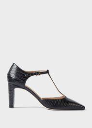 Sara Lizard Block Heel Court Shoes, Black, hi-res