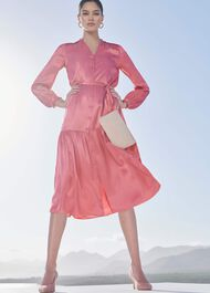Esther Satin Shirt Dress, Pink, hi-res