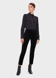 Paola Velvet Slim Trouser With Stretch, Navy, hi-res