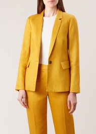 Anthea Linen Jacket, Golden Yellow, hi-res