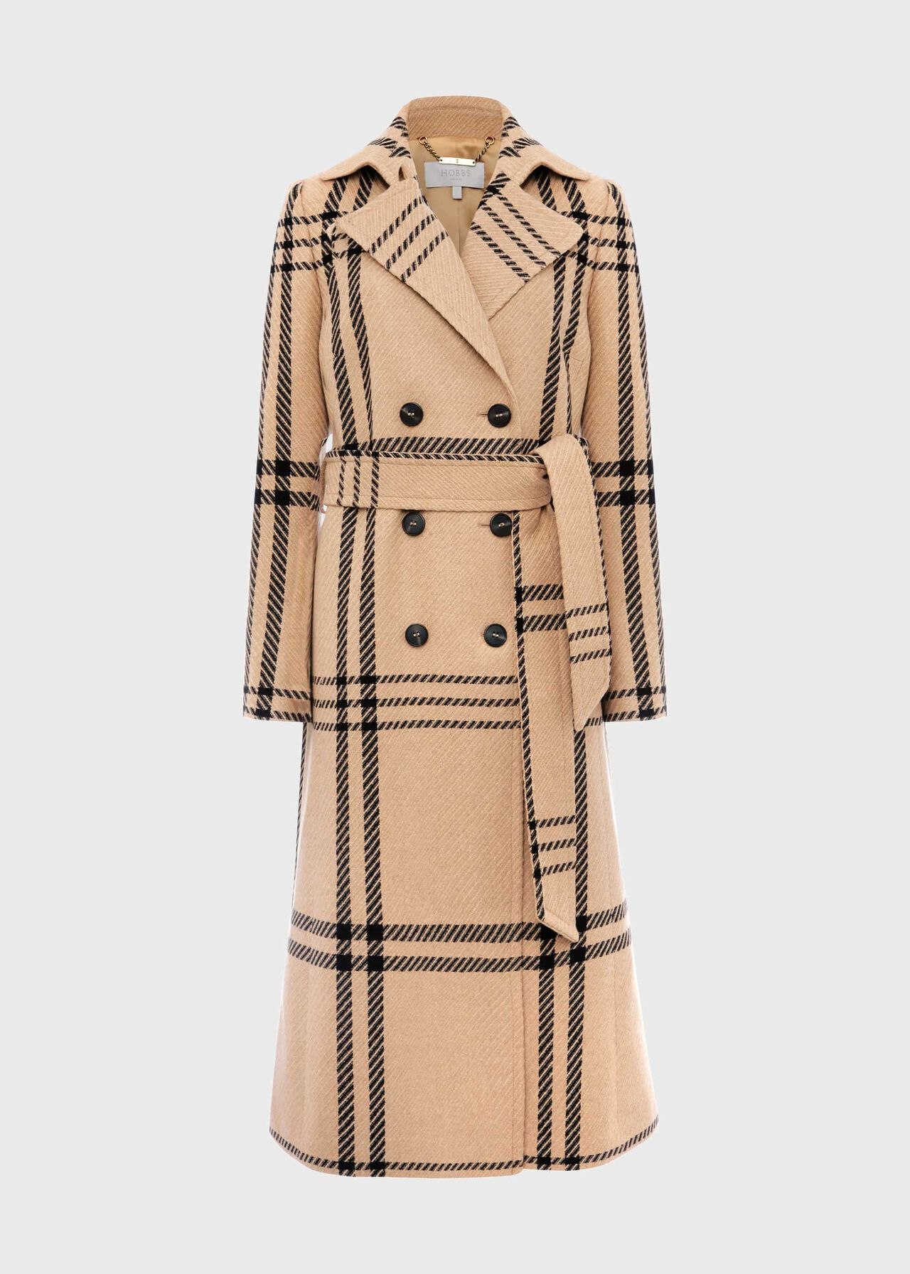 Faye Wool Blend Wrap Coat Camel Black