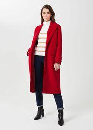 Henrietta Wool Blend Coat, Red, hi-res