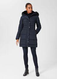 Dita Puffer Jacket With Hood, Navy, hi-res