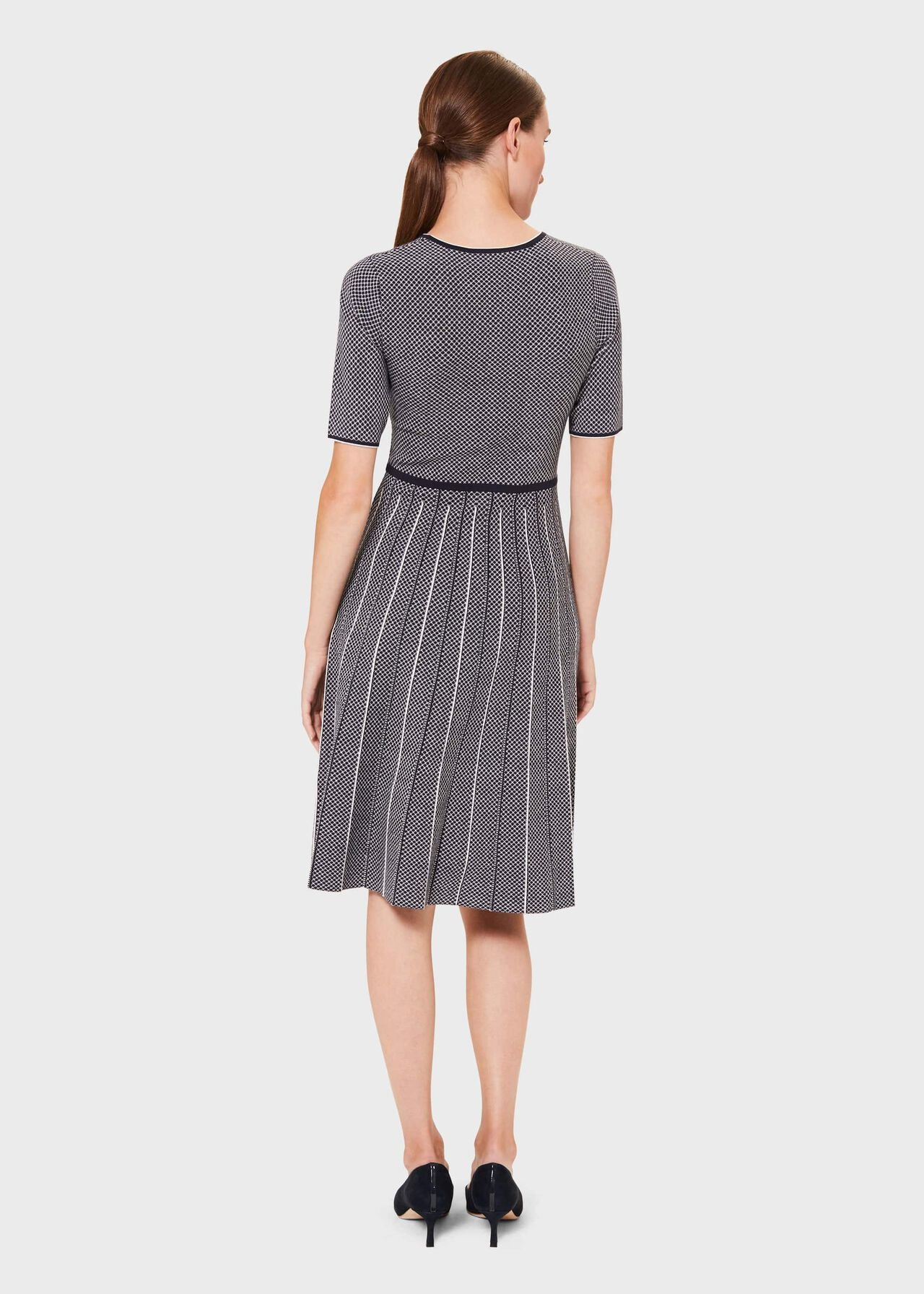 Sophie Knitted Dress, Navy Ivory, hi-res