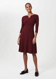 Vanessa Knitted Dress, Merlot, hi-res