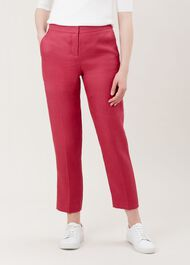 Anthea Linen Trousers, Raspberry Pink, hi-res