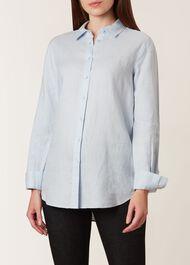 Kristina Linen Shirt, Soft Blue, hi-res