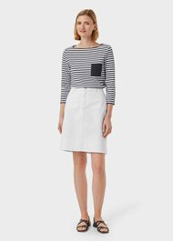 Maeva Denim A Line Skirt, White, hi-res