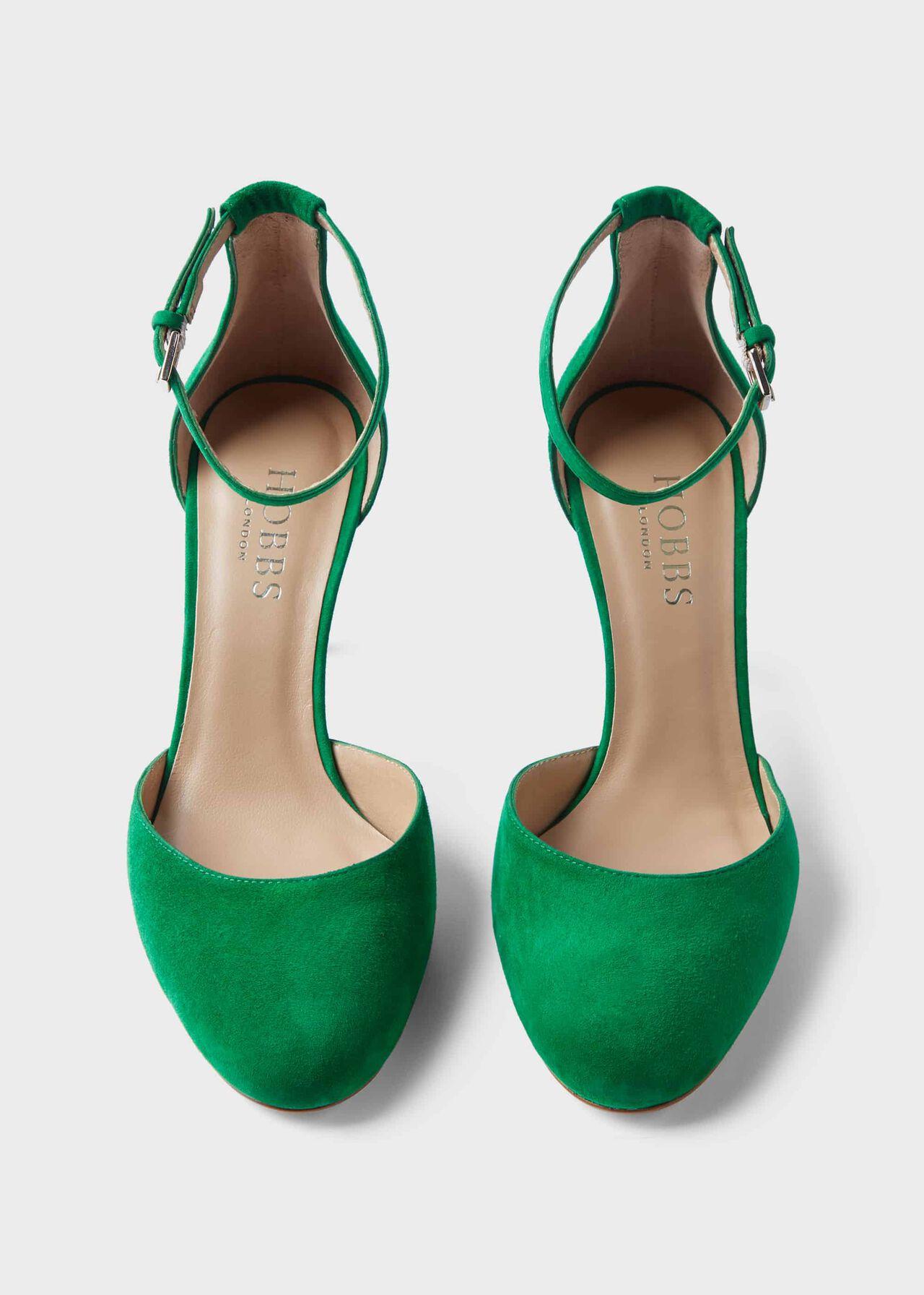 Elliya Suede Court Shoes , Green, hi-res