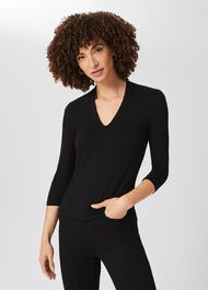Aimee Double Fronted Top, Black, hi-res