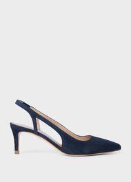 Cleo Suede Slingback Shoes , Navy, hi-res