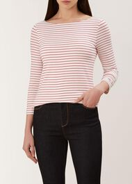 Striped Sonya Top, Ivory Red, hi-res