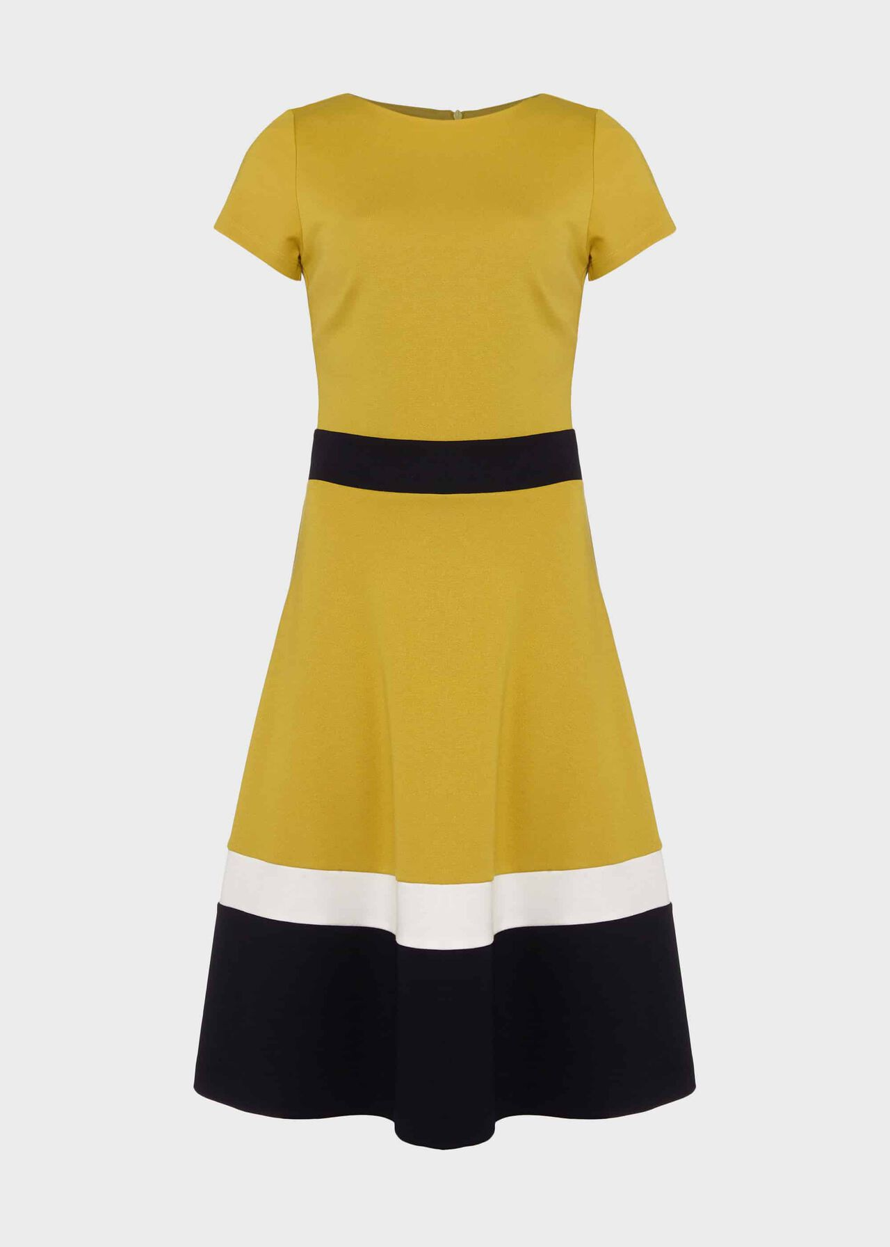 Seasalter Jersey Fit And Flare Dress Yellow Nvy Whte