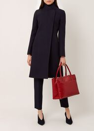 Romy Wool Blend Coat, Navy, hi-res