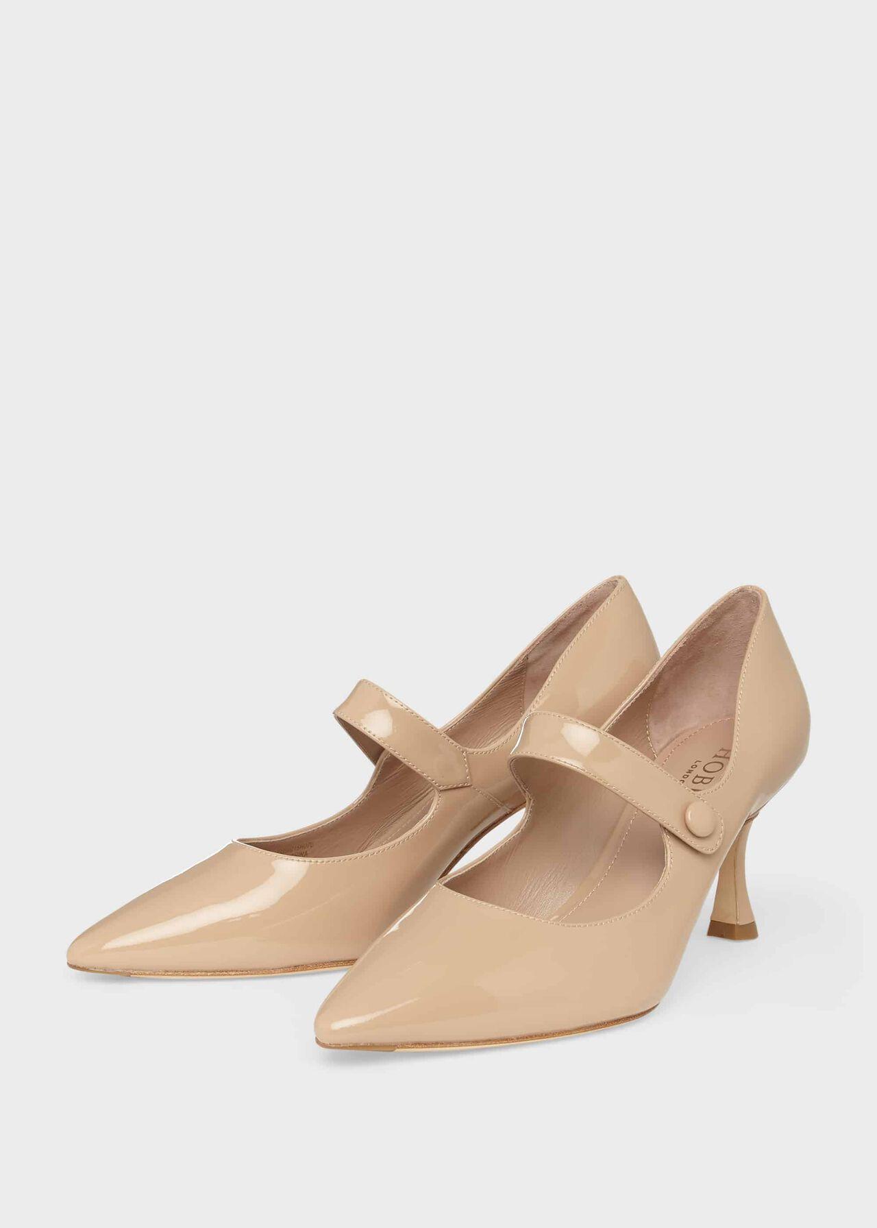 Sandra Patent Stiletto Court Shoes Fawn