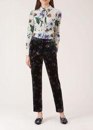 Passionflower Velvet Trousers, Black Multi, hi-res