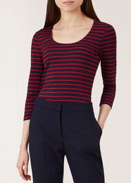 Striped Daisy Top, Navy Red, hi-res