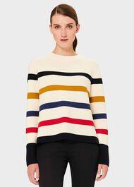Fisola Cotton Stripe Jumper, Multi, hi-res