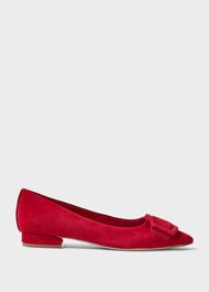 Alison Suede Flat, Red, hi-res