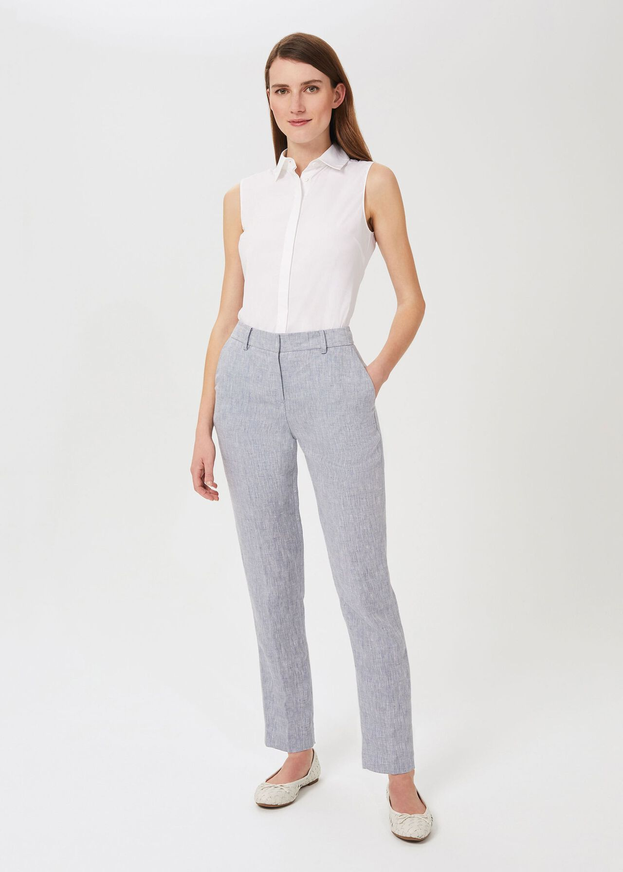 Ivana Linen Tapered Trousers, Pale Blue, hi-res