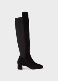 Hailey Suede Block Heel Over-Knee Boots, Black, hi-res