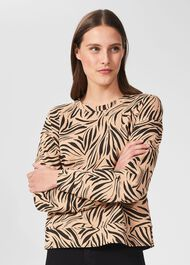 Tessa Printed Sweatshirt, Camel Black, hi-res